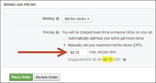 facebook advertising bidding pricing